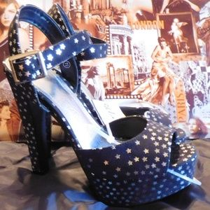 D Shoes - D HIGH HEEL SHOES BLACK WITH STARS NEW